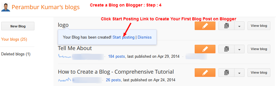 "Create a Blog on Blogger - Click ""Start Posting"" to Write Your First Post - Step - 4"