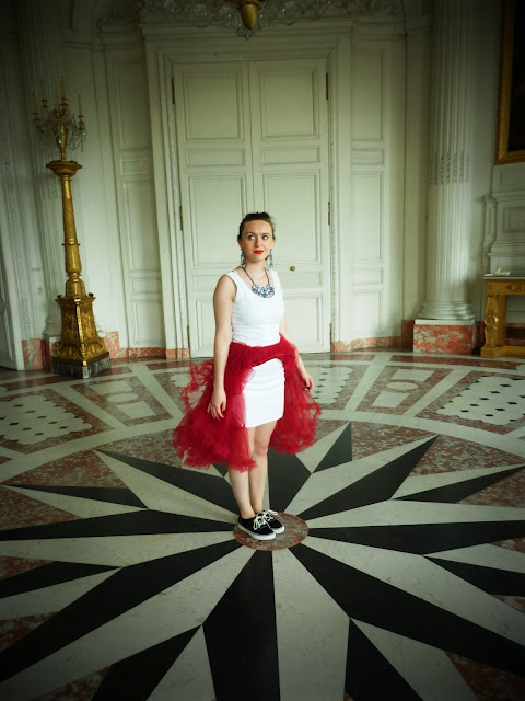 Versailles Chanel Red and White Panniers Black and White floor