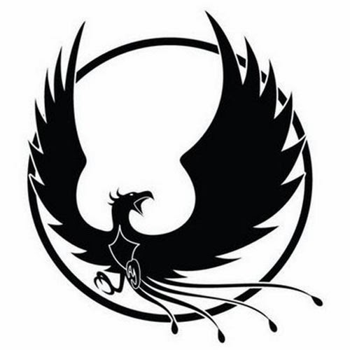 Phoenix and sun tattoo stencil