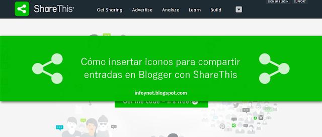 Cómo insertar iconos para compartir entradas en Blogger con ShareThis