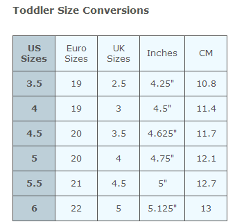 Toddler Foot Size Conversion Chart from FrySauceandGrits.com