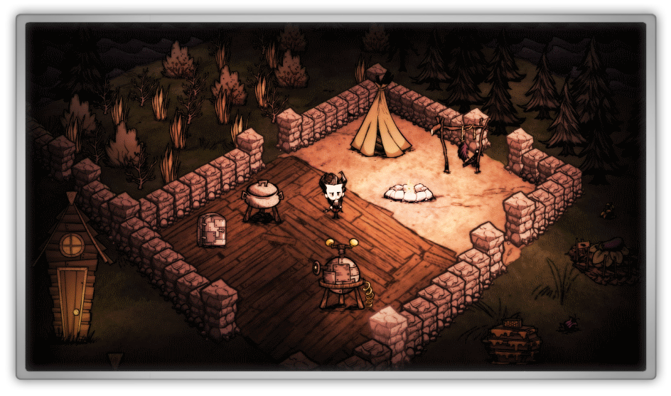 Don't starve marjolein kucmer survival action adventure open world horror scary hoarder farm farmer harvest loot looter collect fire woods forest tree house home tent honey game