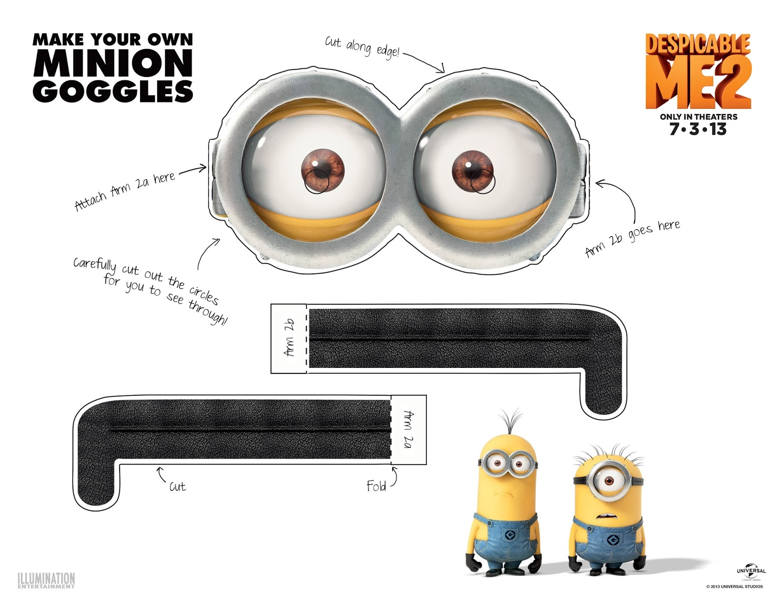 Bright image pertaining to printable minion goggles