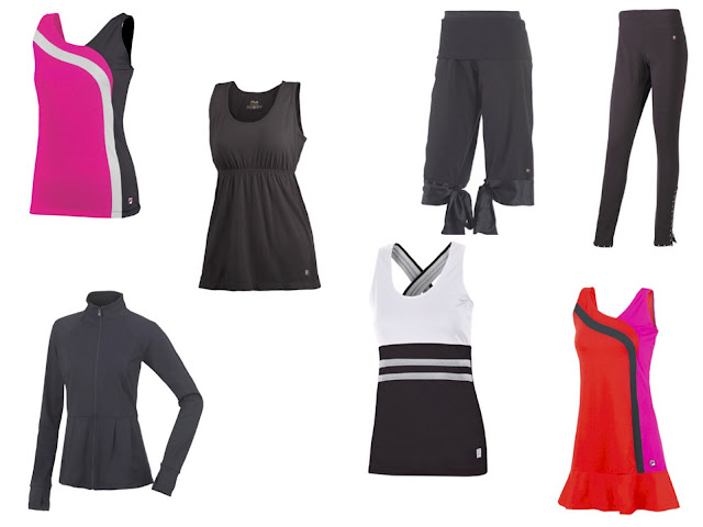 Style Athletics Fila Workout Clothes Tennis Dress Tank Top Bright Color Pink Orange Jacket Pants