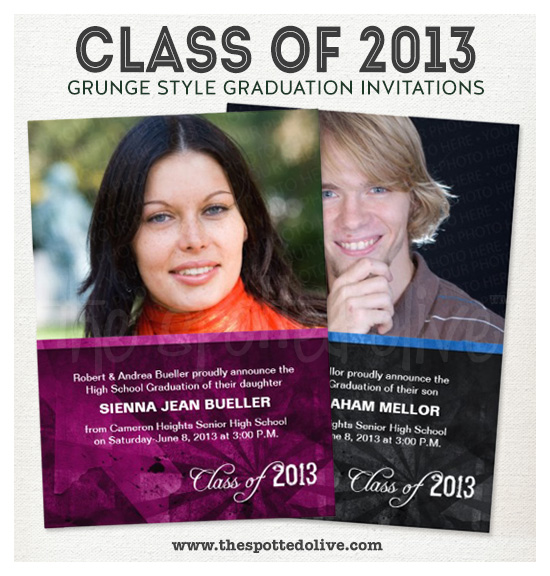 Class of 2013 Grunge Style Graduation Announcements