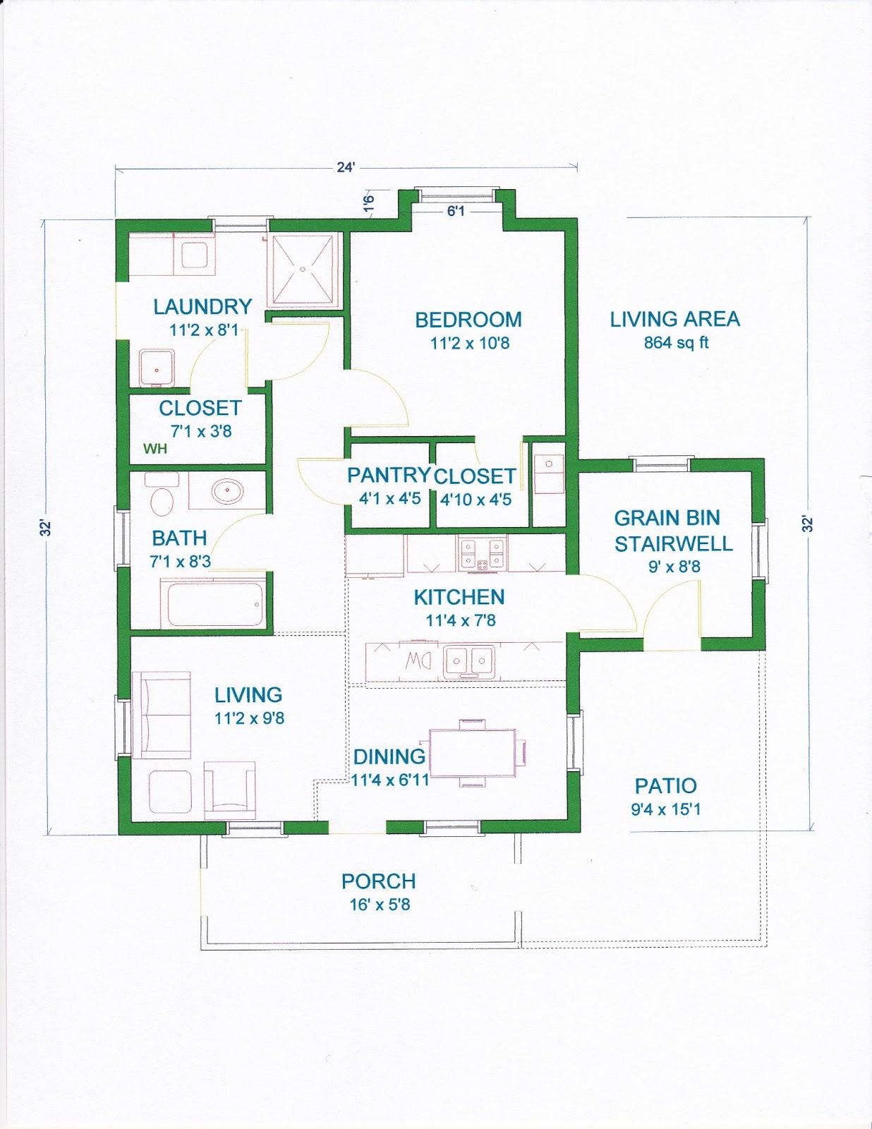 Grama sue39s floor plan play land gambrel barn home 24 x32 for Bedroom floor plans 24 x 32