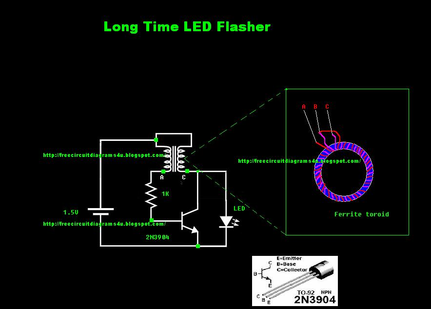 Circuit diagram Long time LED Flasher | Online Service Manual