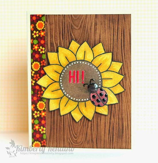 Sunflower card by Kimberly Rendino using Digital Sunflower stamp by Newton's Nook Designs