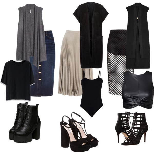 OUTFIT INSPIRATION - LONG VESTS AND MIDI SKIRTS