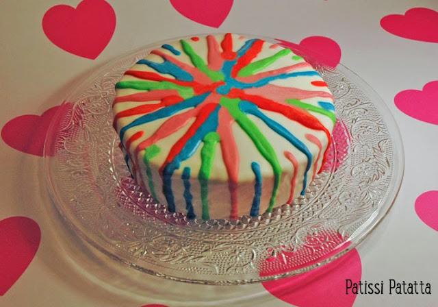 cake design, glaçace royal, gâteau multicolor, gâteau citron, lemon-curd, gâteau abstrait,