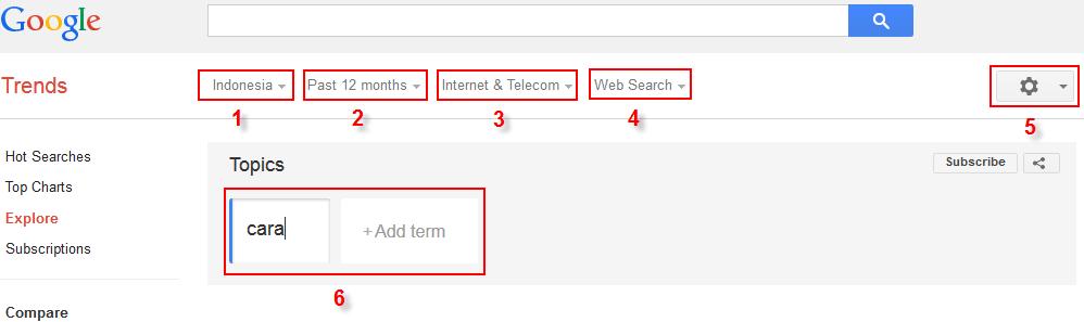 Riset kata kunci dengan google trends step1