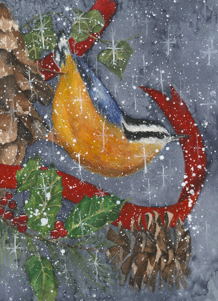 A red-breasted nuthatch with a red ribbon and pinecones in the snow wishes everyone Merry Christmas!