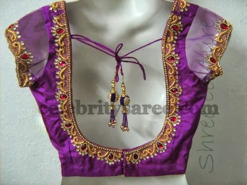Simple Blouse Designs With Work: Broad Blouse Designs with Simple Work - Saree Blouse Patternsrh:celebritysaree.com,Design