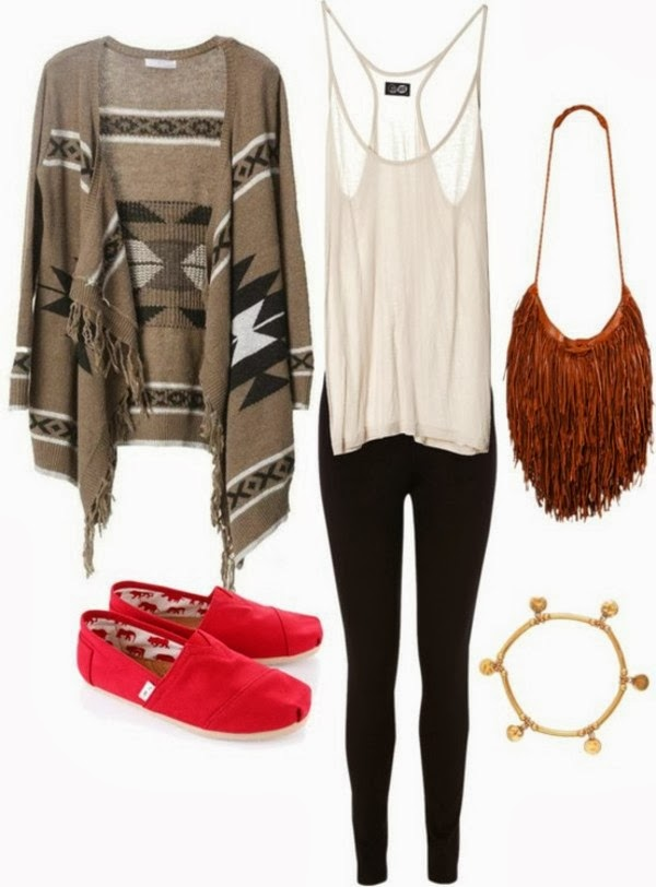 Stylish oversize cardigan, white vest, red shoes and golden necklace