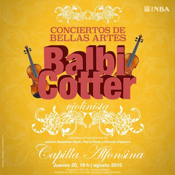 El violinista Balbi Cotter ofrecerá recital en la Capilla Alfonsina del INBA