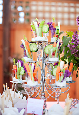 Vegetables served in shot glasses for a wedding, very fun and very fancy!