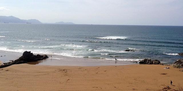 serie de olas llegando a sopelana