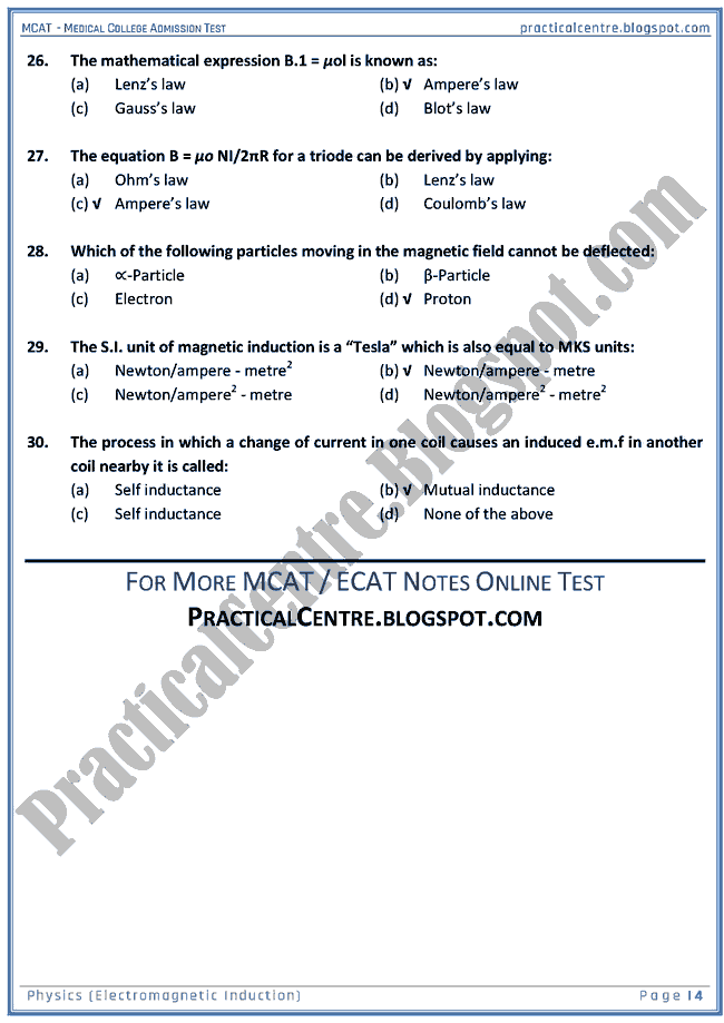 mcat-physics-electromagnetic-induction-mcqs-for-medical-college-admission-test