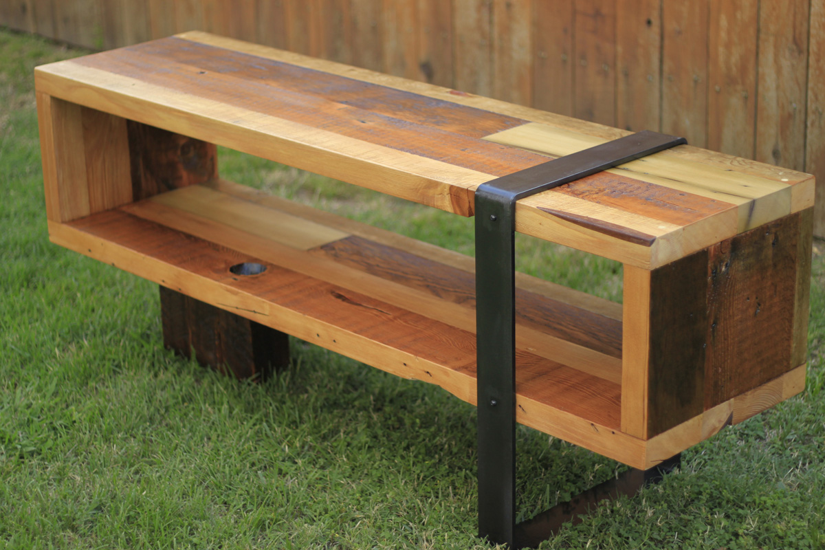 Arbor exchange reclaimed wood furniture consule bench Wood and steel furniture