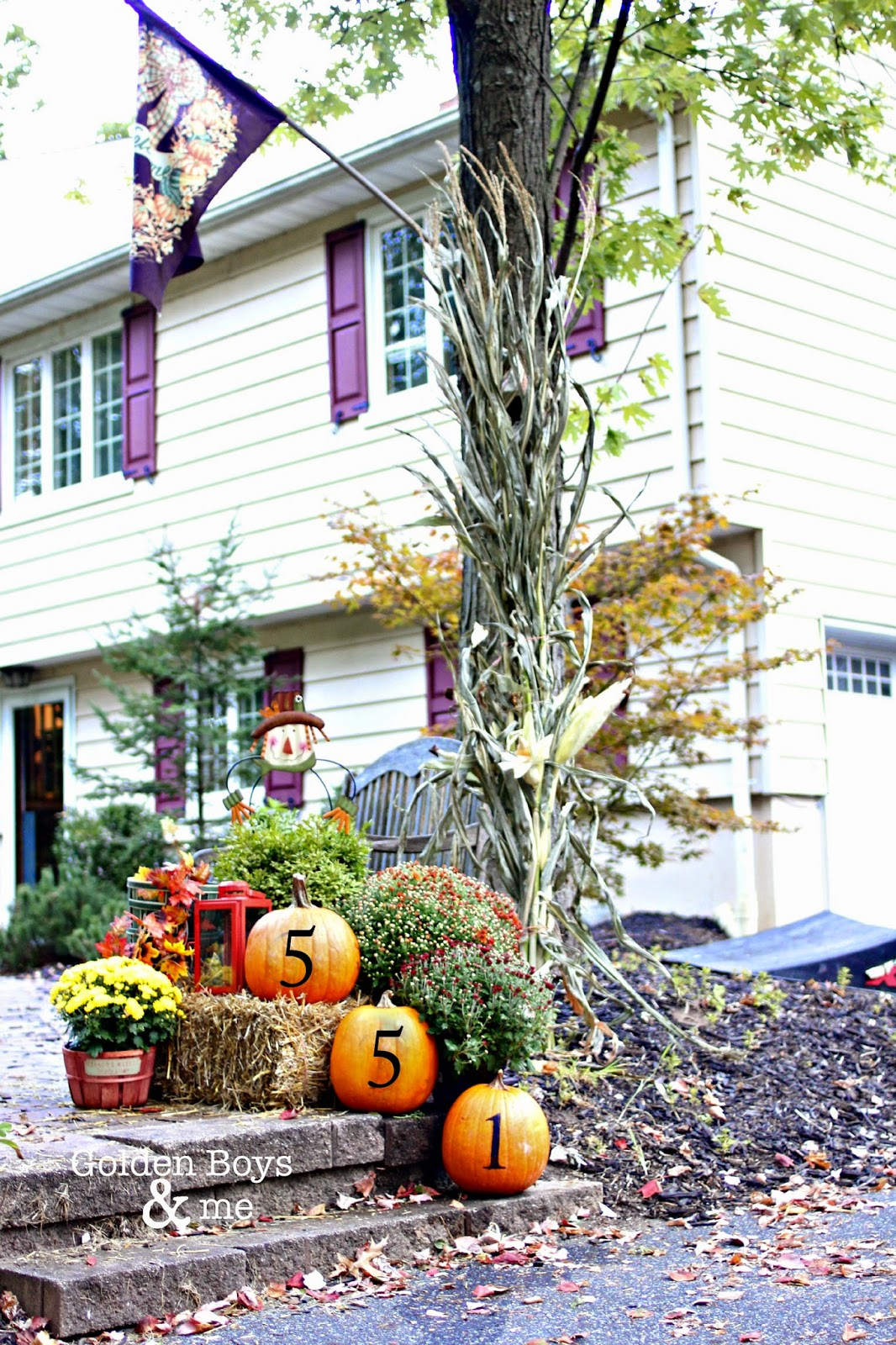 Pumpkins with stenciled house numbers in outdoor fall display-www.goldenboysandme.com