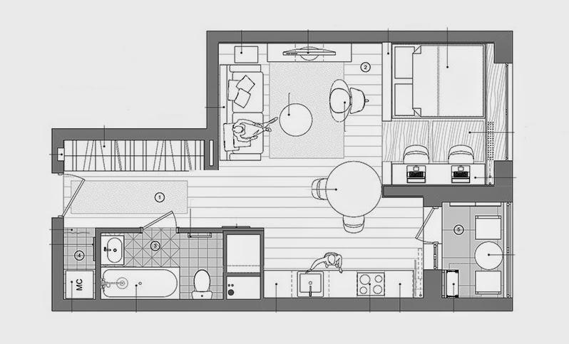 Sp cial petits espaces un studio de 40 m2 bien pens blog d co mydecolab - Plan studio studio m ...