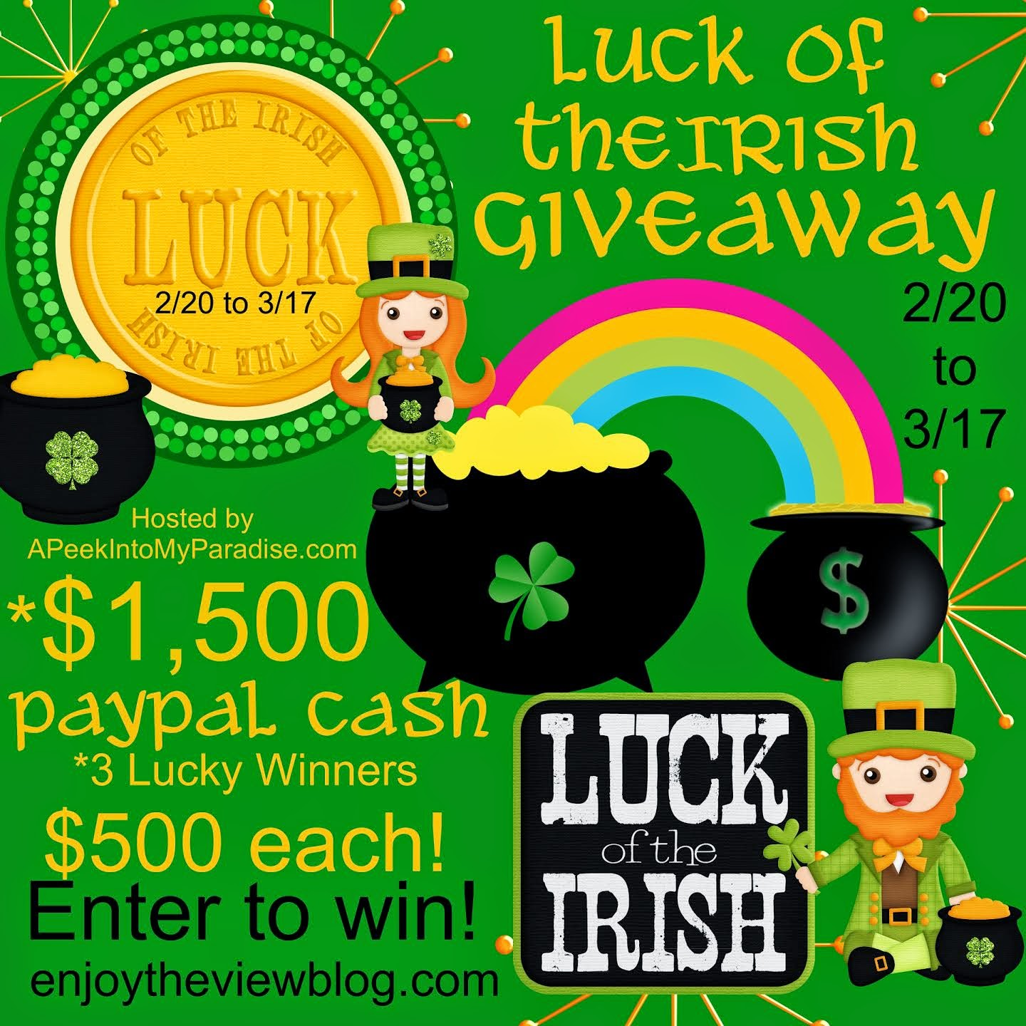 Luck of the Irish $1500 Cash Giveaway!