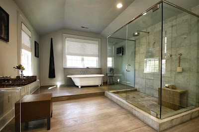 luxurious and natural master bathroom
