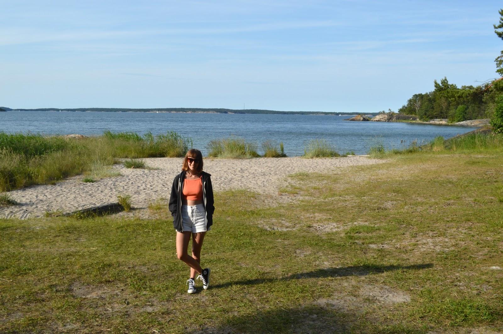 Me on beach near Gruvbryggan, Utö Stockholm archipelago