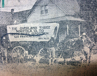 News clipping photo of three men and covered wagon