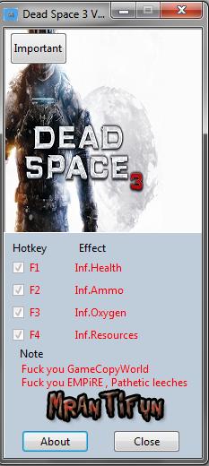 Dead Space 3 V1.0.0.1 Trainer +4 MrAntiFun