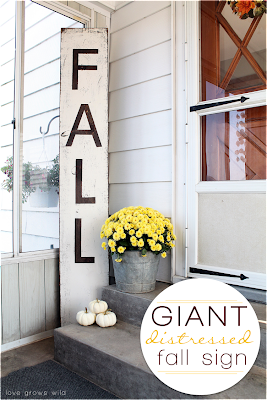 Giant Distressed Fall Sign