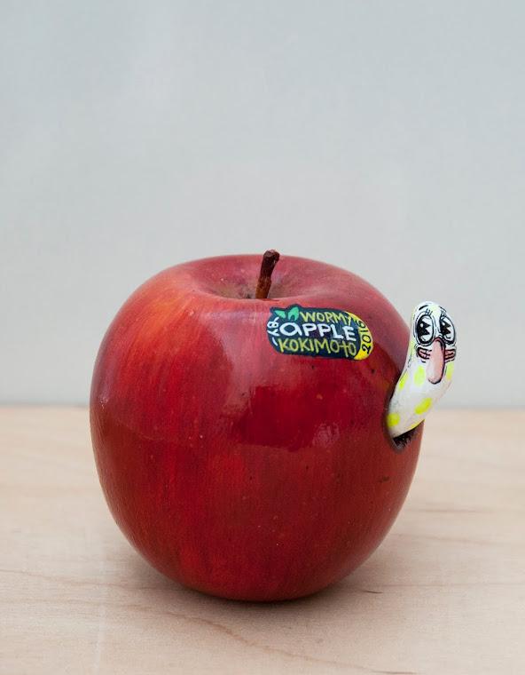 Red Wormy Apple, 2014. Acrylic, wood, sticker, 10 х 10 cm