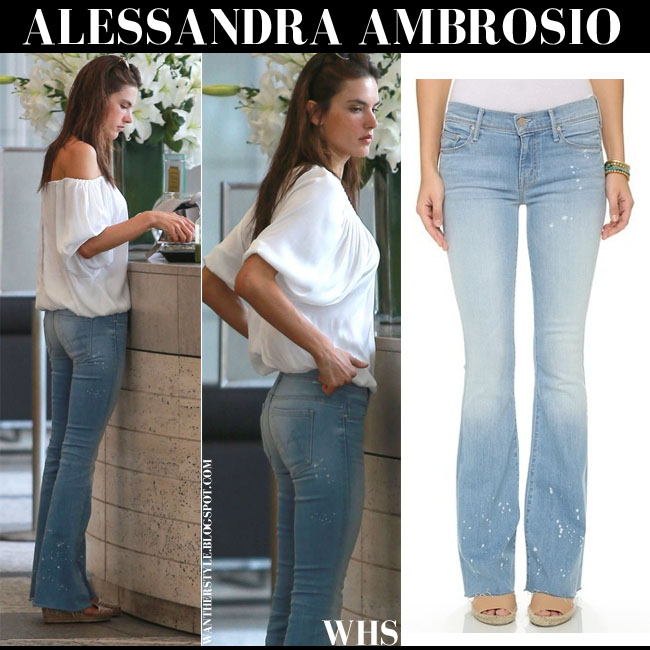 Alessandra Ambrosio in light blue flared jeans Mother The Cruiser what she wore june 12