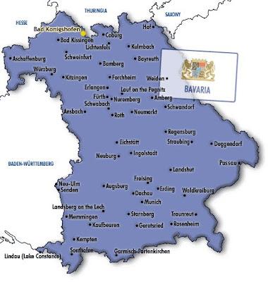 Baviera Mapa de Ciudades