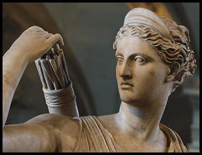 Artemisa de Versalles, Artemis of Versailles, diosa cazadora, Pangea, diosa griega, castidad, escultura griega, Leócares, mito, mythos, logos, mitologia