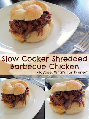 Slow Cooker Shredded Barbecue Chicken:  A very simple and delicious recipe with only 2 ingredients, cooked in a slow cooker.  Great for parties, gameday, or weeknight dinners.