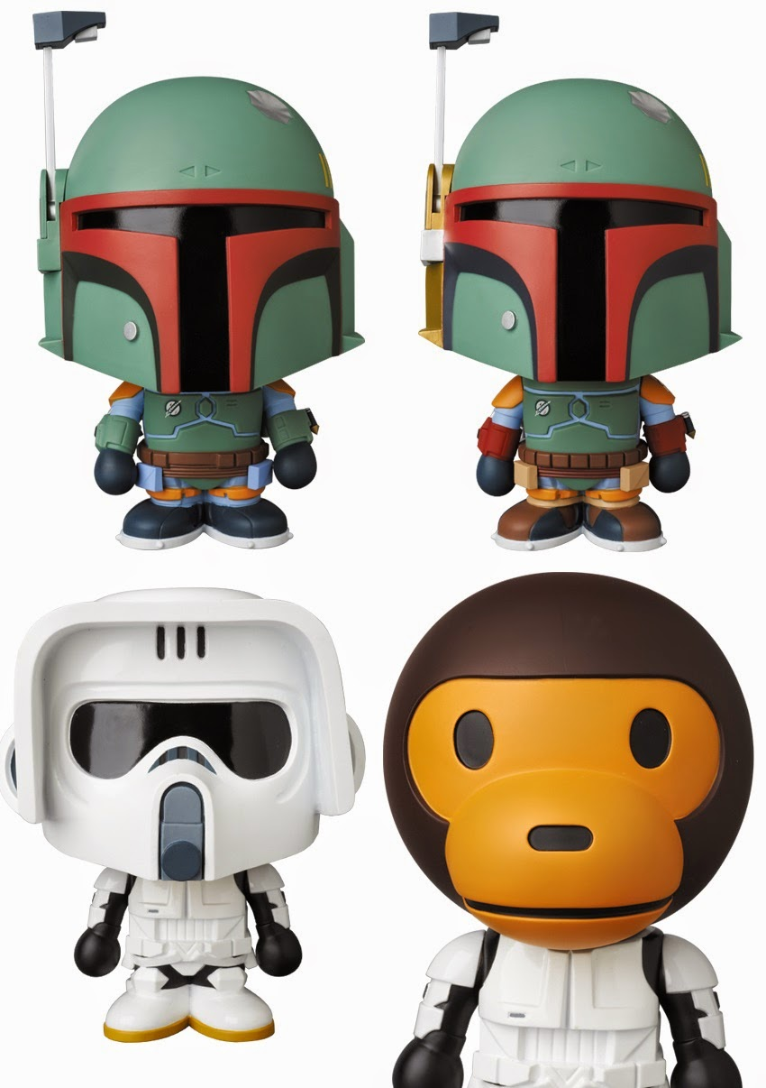 Star Wars x A Bathing Ape Baby Milo Wave 2 Vinyl Figures by Medicom - Boba Fett & Scout Trooper