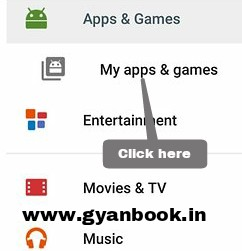 my apps option in play store
