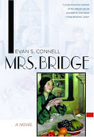 Image: The cover of Mrs. Bridge. The cover is mostly white, with the title of the book and the author in black. At the bottom right is a painting of a woman sitting at a table with a bowl of fruit.