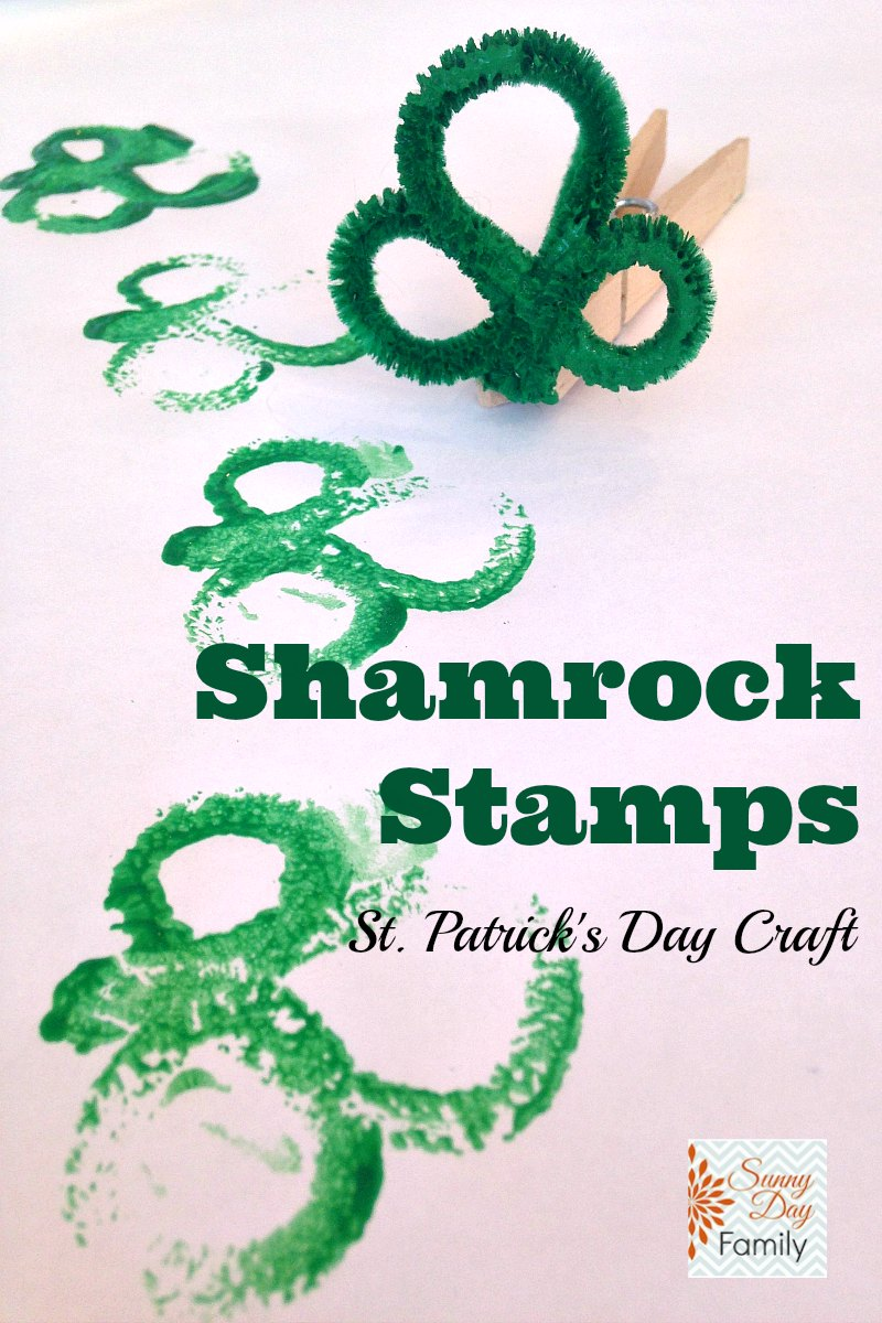 Shamrock Stamps! St. Patrick's Day craft for kids using pipe cleaners and paint.