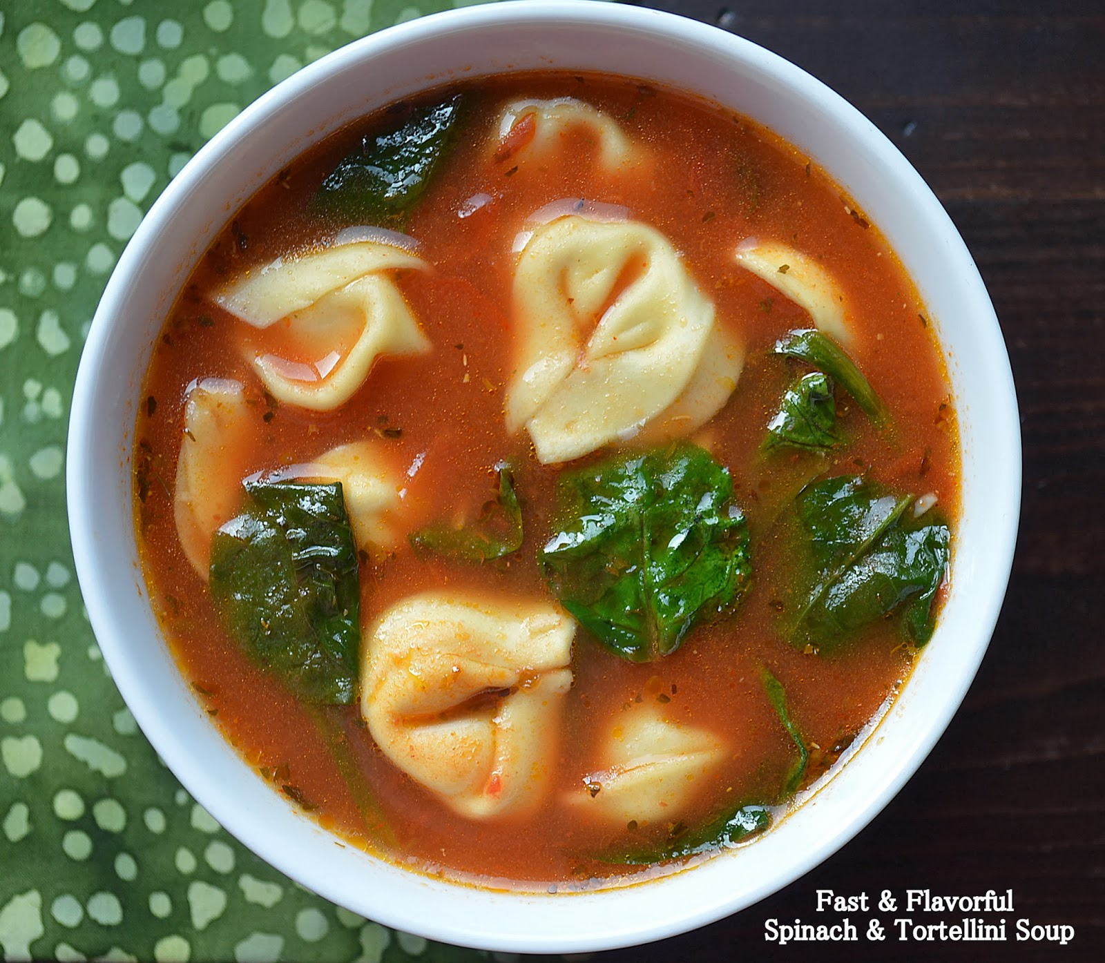 Garlicky Tortellini Soup with Tomato and Spinach - Souffle Bombay