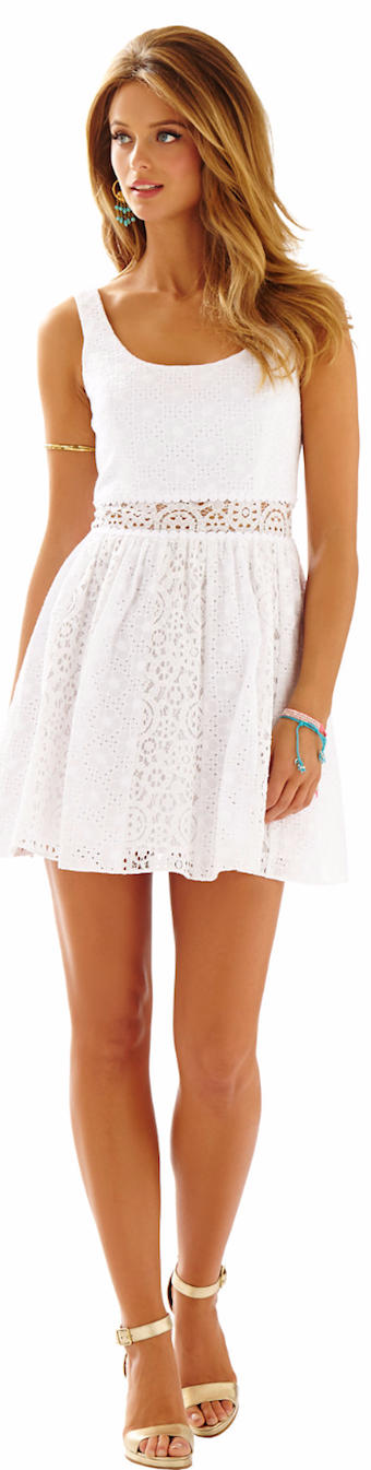 LILLY PULITZER ROSEMARIE EYELET SCOOP NECK DRESS