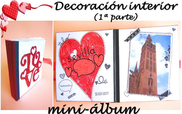 portada scrapbooking para San Valentin primera parte de la decoración interior del LOVE mini-álbum hecho con tarjetas y sobres)