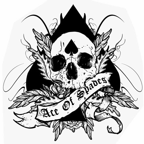 Ace of spades with skull tattoo stencil