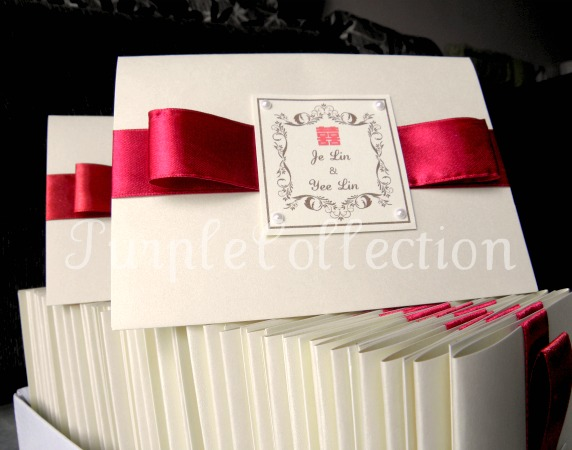 Best Seller Wedding Invitation Card + Map, wedding invitation cards, malay wedding cards, best seller wedding card, maroon ribbon card