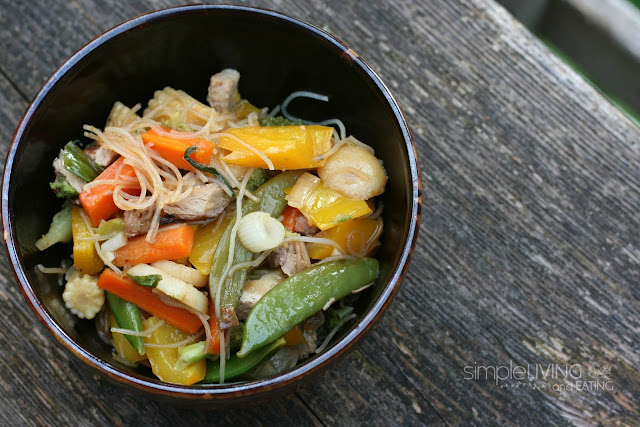 pork stir fry with rice noodles