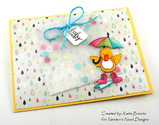 Baby shower duck card by Katie Brooks for Newton's Nook Designs!