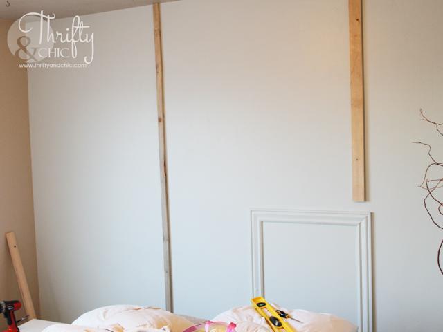 DIY floor to ceiling wood headboard tutorial
