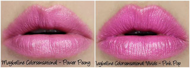 Maybelline Color Sensational Power Peony and Pink Pop Lipstick Comparison Swatches