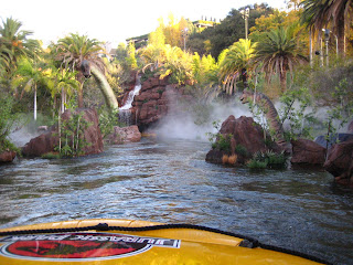 Taking the raft through the swamp on Jurassic Park - The Ride.